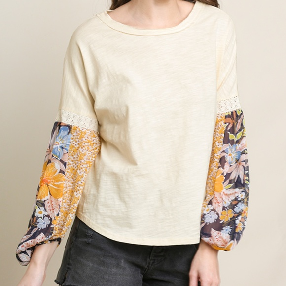 UMGEE Cream Eyelet Embroidered Lace Long Puff Sleeve Top USA Boutique